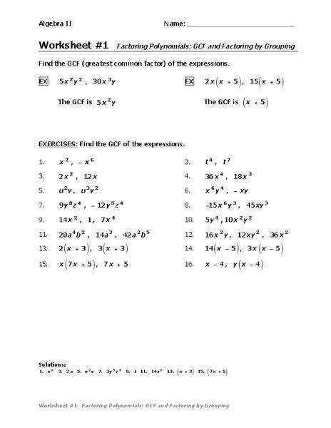 Factoring Gcf Worksheet Homeschooldressage Com