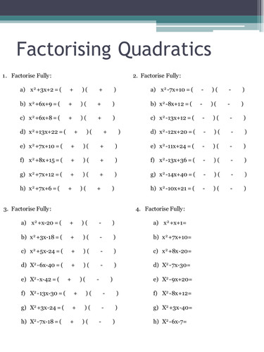 Factorising Quadratics Worksheets by HolyheadSchool Teaching Resources Tes
