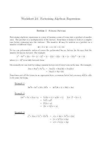 Worksheet 2 6 Factorizing Algebraic Expressions
