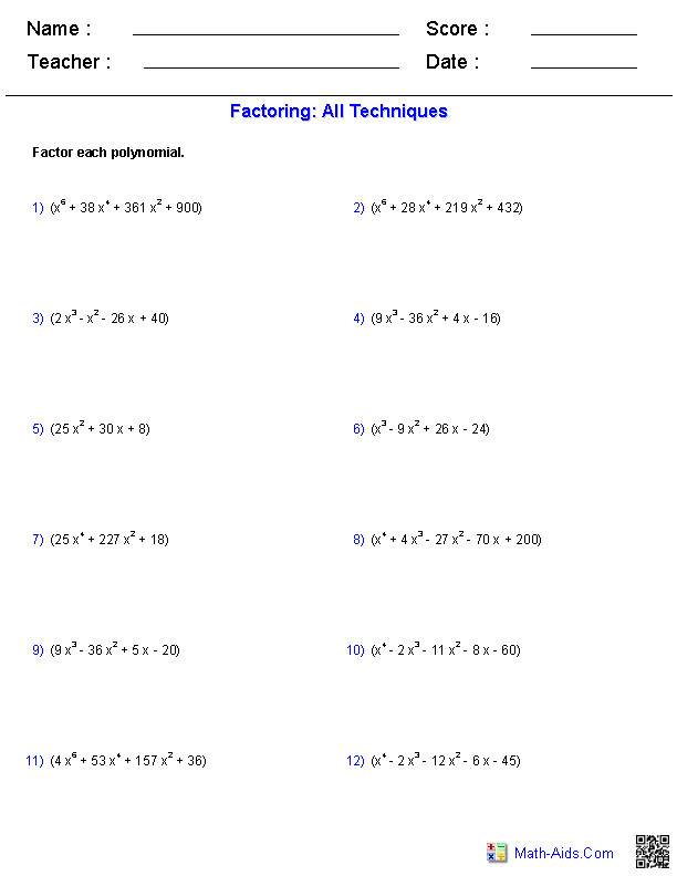 Algebra II or PreCalculus practice worksheet for factoring higher