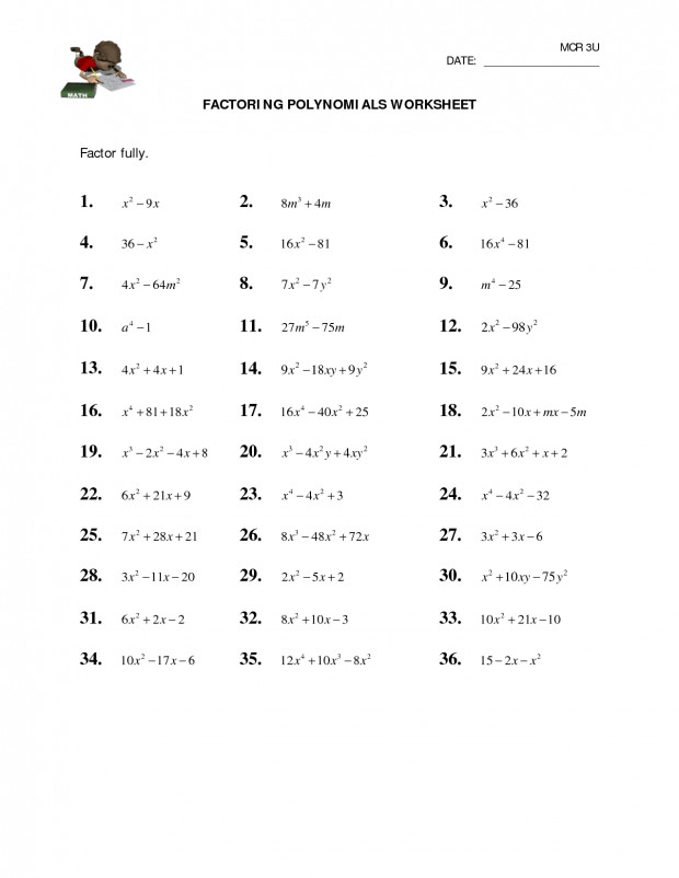 Factoring Polynomials Worksheet With Answers Algebra 2 Symbols