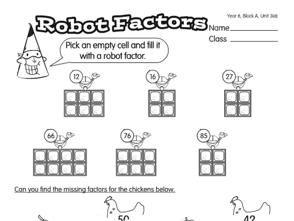 Preview of Robo Egg Factor A year 6 factors & multiples worksheet