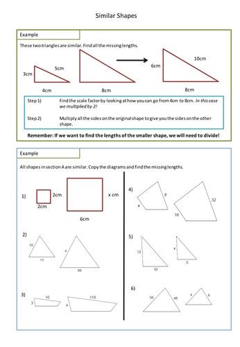 Similar Shapes Worksheet Scale Factors by adz1991 Teaching Resources Tes