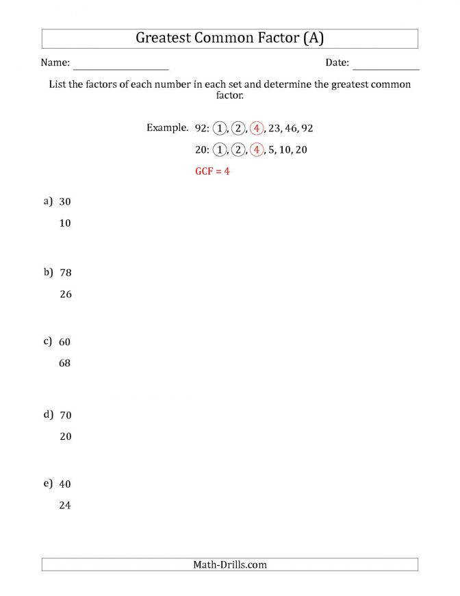 Determining Greatest mon Factors Sets Two Numbers From 4 And Multiples Worksheet Kuta Greatest mon