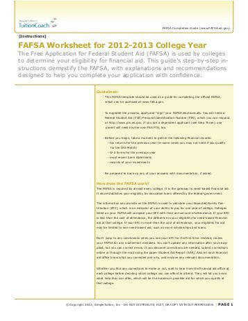 FAFSA Worksheet for 2012 2013 College Year TuitionCoach
