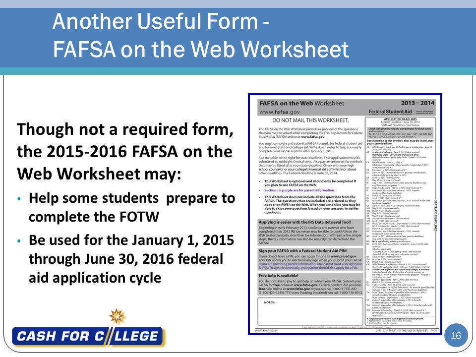 Another Useful Form FAFSA on the Web Worksheet