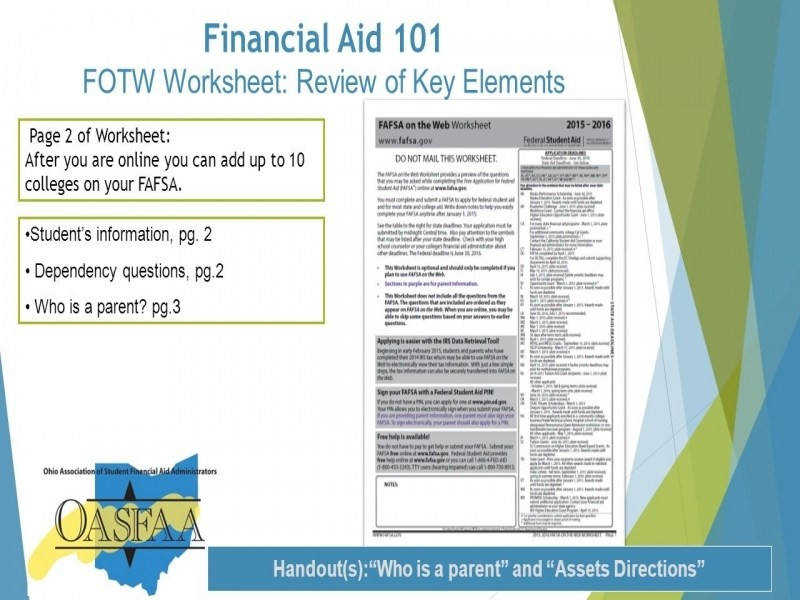 Financial Aid 101 Financial Aid Information For The Webinar Will