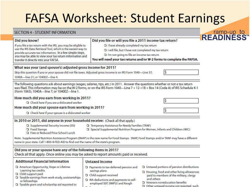 18 FAFSA Worksheet Student Earnings