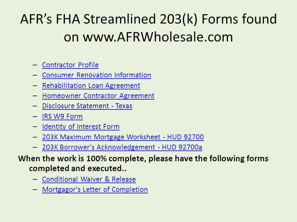 AFR s FHA Streamlined 203 k Forms found on –