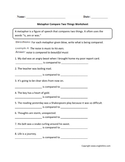 Figurative Language Worksheets Personification Activity 5th Grade Writing With Work Figurative Language Lesson Plans 5th Grade