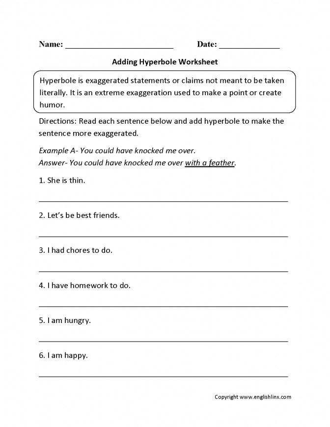 Figurative Language Worksheets Hyperbole Adding Work Figurative Language Lesson Plans 6th Grade Lesson Plan Medium