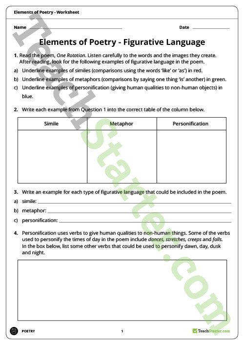 Figurative Language Worksheet Teaching Resource