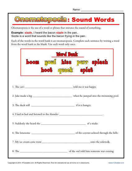 omatopoeia Sound Words Free Printable Worksheet Lesson Activity