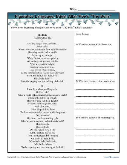Figurative Language Printable Worksheet Activity Edgar Allan Poe s The Bells