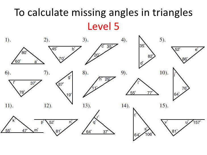 Triangles identifying and finding missing angles