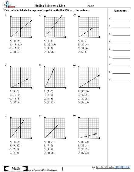 Finding Points on a Line worksheet