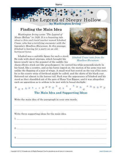 Middle School Main Idea Worksheet About The Legend of Sleepy Hollow