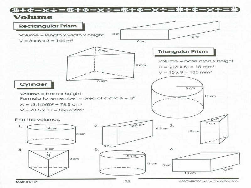 Geometry Surface Area And Volume Worksheets Worksheets