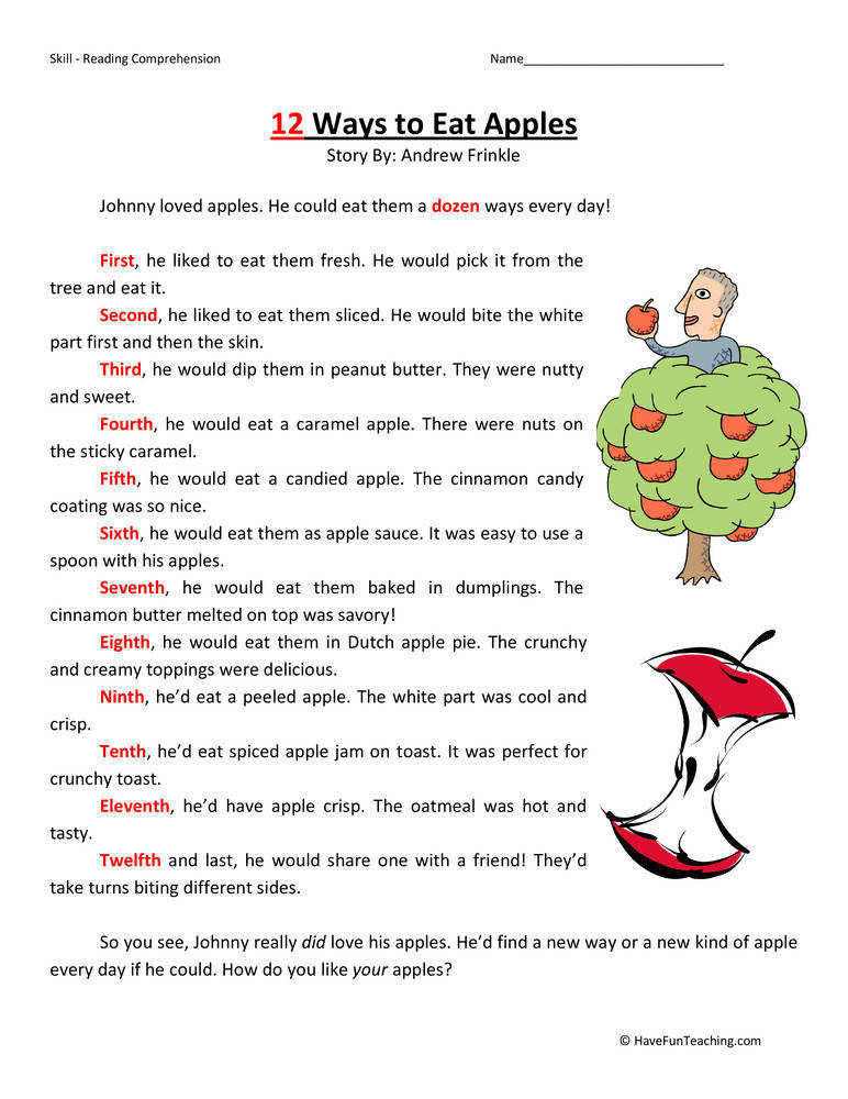 12 Ways to Eat Apples – Reading prehension Worksheet