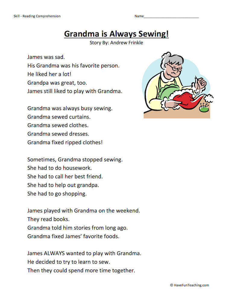Grandma Is Always Sewing Reading prehension Worksheet