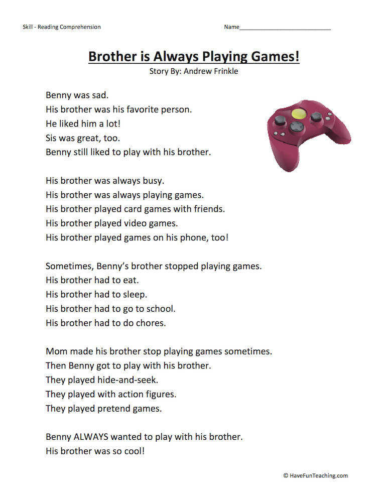 Brother Is Always Playing Games – Reading prehension Worksheet