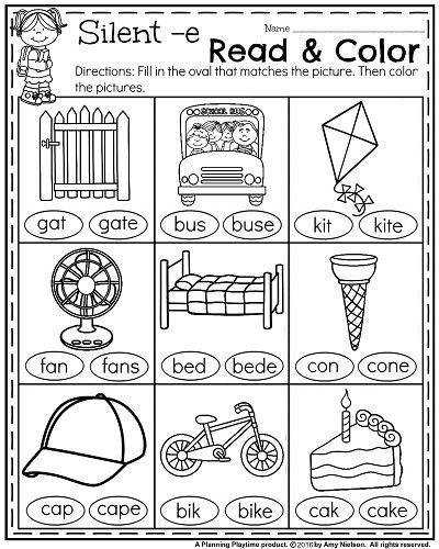 First Grade Reading Coloring Worksheets