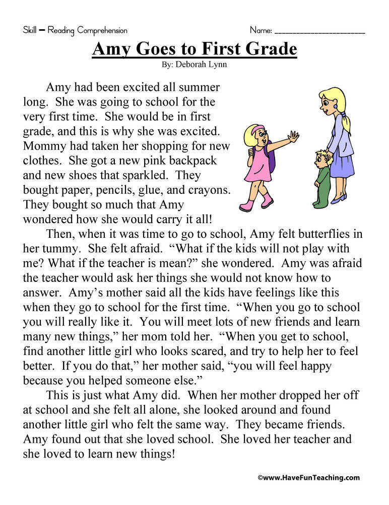 Amy Goes to First Grade – Reading prehension Worksheet