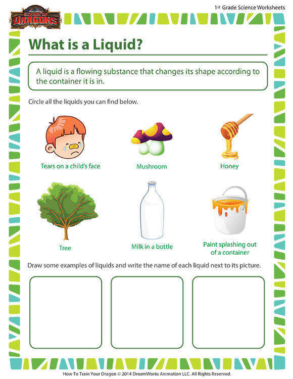 Free Printable Worksheet For Grade 1 Science What is a liquid worksheet first grade science