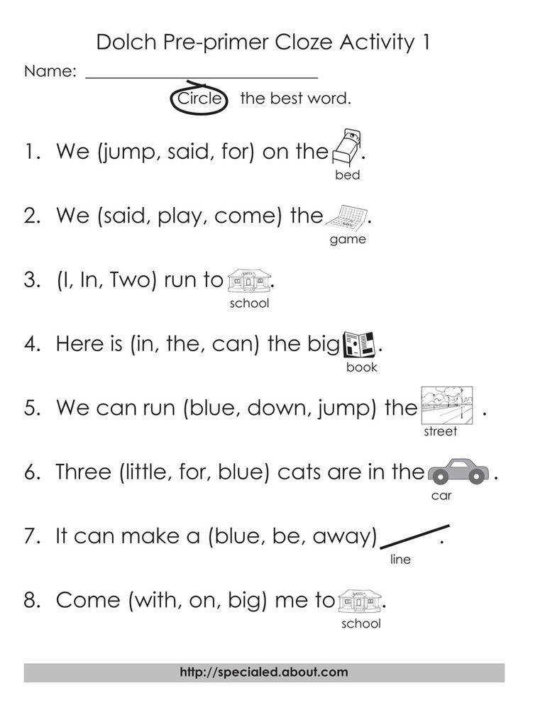 Pre primer Dolch cloze worksheets Websterlearning The first set of high frequency words