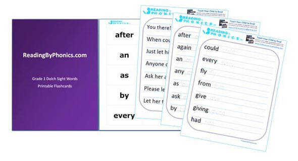 Dolch Sight Words Flash Cards Worksheets and Sentences