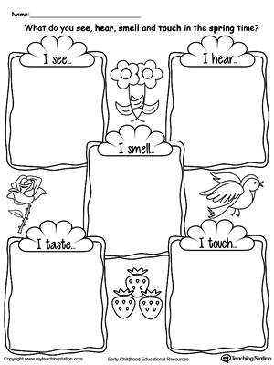 The Five Senses in the Spring Time DownloadFREE Worksheet