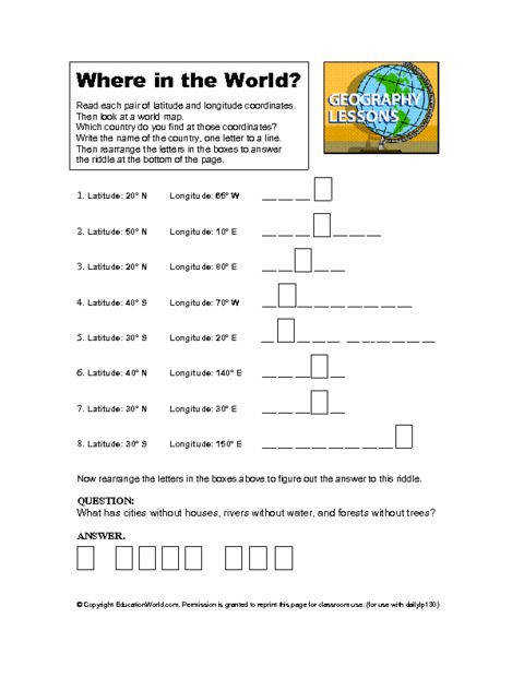Where in the World Geography Worksheet Latitude and Longitude