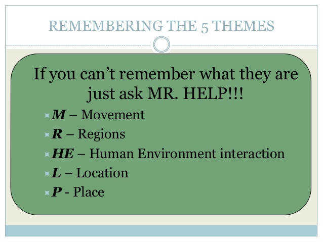 11 REMEMBERING THE 5 THEMES