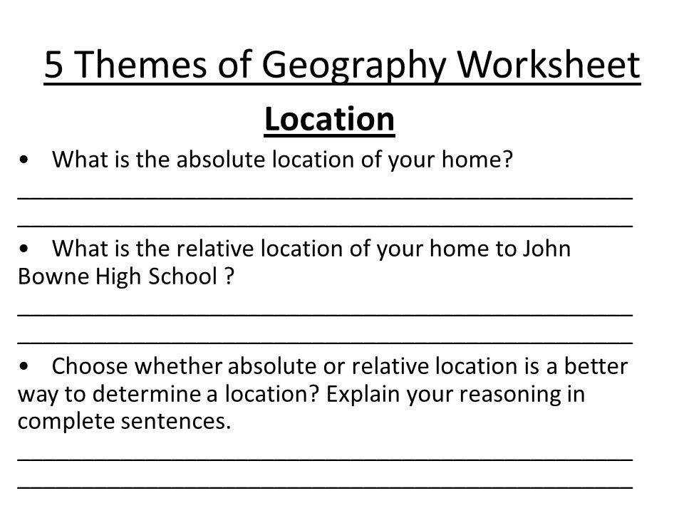 15 5 Themes of Geography Worksheet