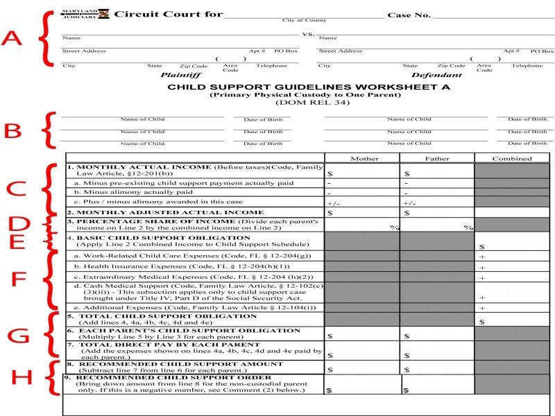 Child Support Calculation Worksheet Worksheets