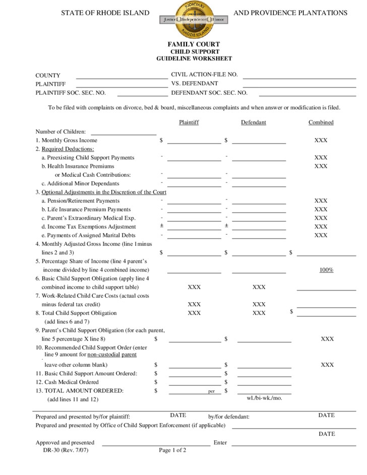 Child Support Guidelines Worksheet Mifial