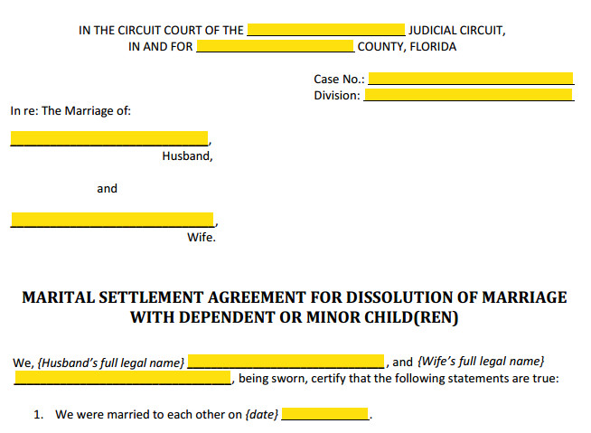 Form 12 902f1 Marital Settlement Agreement With Children Style Heading
