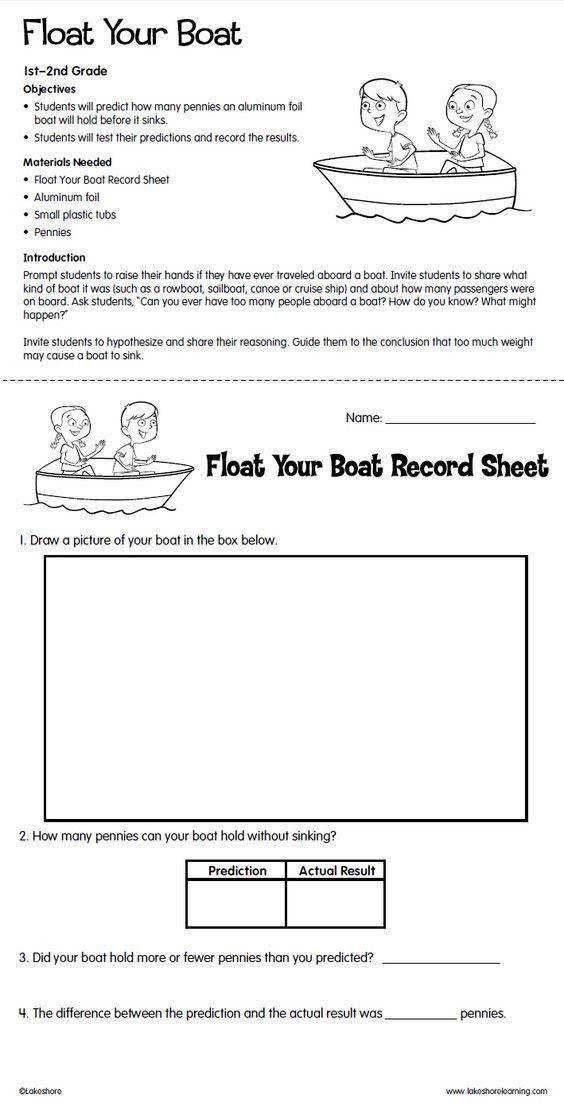 Float Your Boat Lesson Plan from Lakeshore Learning Students predict how many pennies an aluminum foil boat will hold before it sinks