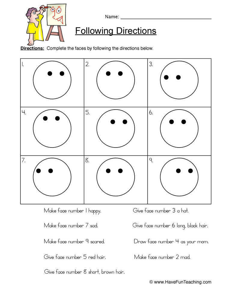 Follow Directions Worksheet – Smilies