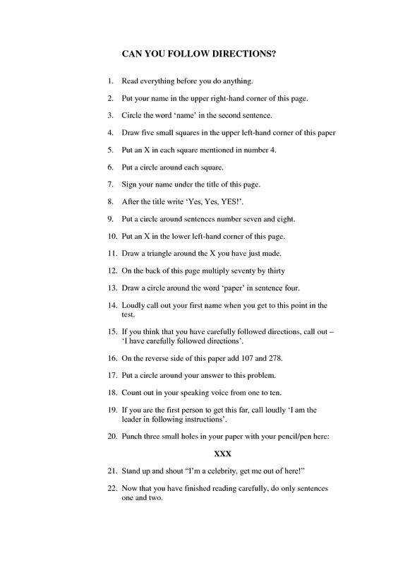 How to Follow Directions Worksheet