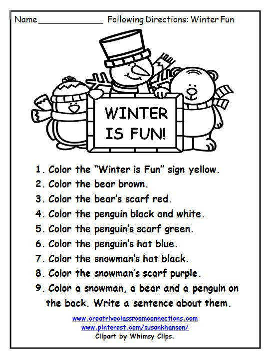 This free Following Directions worksheet provides some fun practice with color words and simple vocabulary words