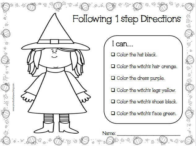 Practically Speeching Halloween Following Directions Print N Go Packet