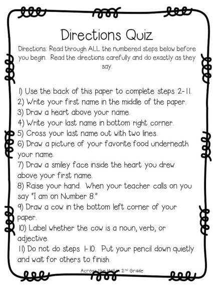 Bunch Ideas of Following Directions Worksheets For Grade 5 For Job Summary