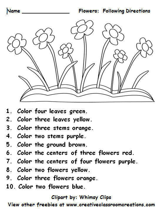 Freebie Following Directions Students will love reading color and number words as