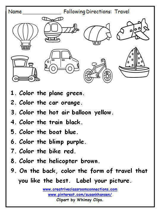 This great printable provides practice for students following directions and identifying ways to travel View