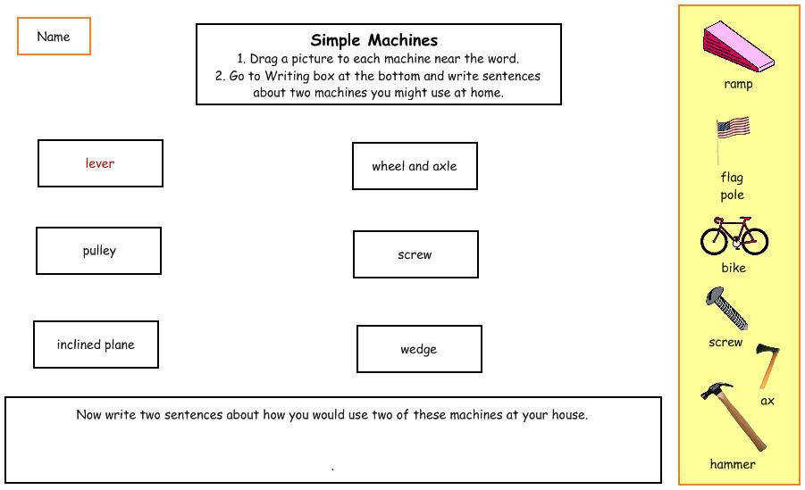 Match simple machines to their vocabulary word · Show Picture