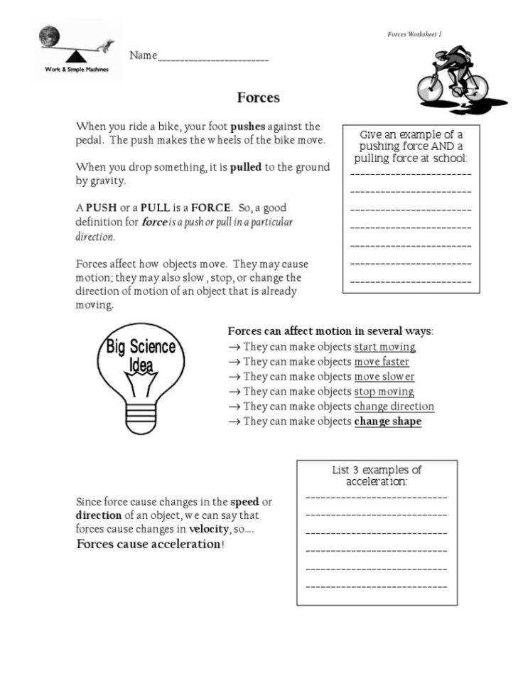 Medium Size of Worksheet force And Motion Worksheets 5th Grade Forces Worksheet 6 Answers Force