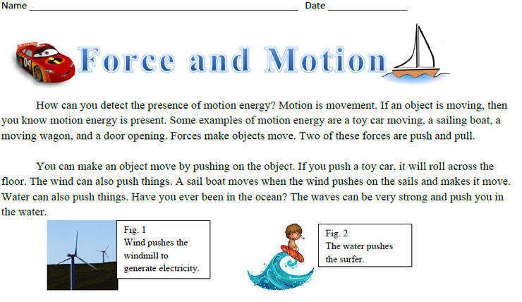 Force and Motion Reading prehension