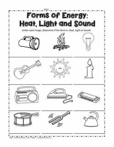 Heat Energy Worksheet Heat Light or Sound