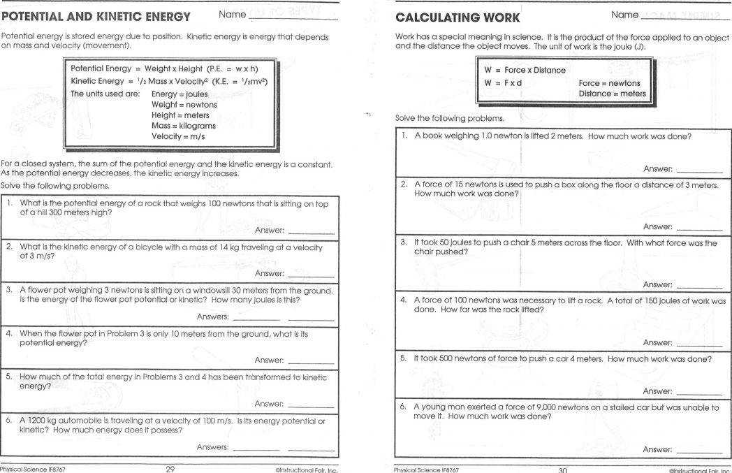 Mechanical Energy Worksheet Worksheets Forms 7th Gr Forms Energy Worksheet Form
